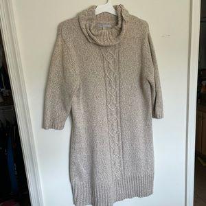 Cream turtleneck sweater dress